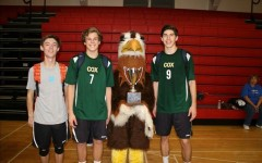 SENIOR VOLLEYBALL PLAYERS Will Calaman, Russell Dervay, and Brett Rosenmeier proudly stand with the school
