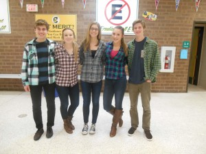 JUNIORS (L to R) JAMES FATIGATE, Tabi Parks, Sarah Moore, Megan Hollifield, and Mac Pugliese show falcon spirit on flannel day.