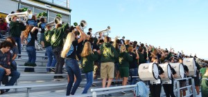 THE SCHOOL'S BAND dances around during the homecoming pep rally.