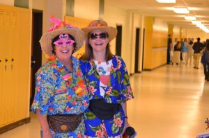 SPIRITED FACULTY MEMBERS Shaula McGovern and Carol Paradiso show off their school spirit during Tacky Tourist day.