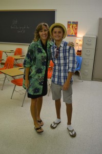 THE DEVLIN DUO, Kirsten Devlin and her son, Liam Devlin celebrate Tacky Tourist day for this years homecoming.
