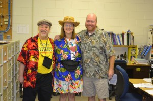 LARRY BECKER, SHAULA MCGOVERN, AND ERIC BODENSTEIN celebrate this years' Tacky Tourist spirit day.