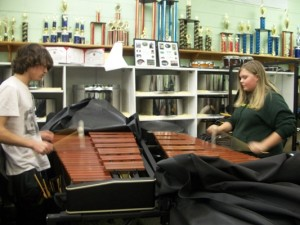 FRESHMAN ALEX WALKO and Sophomore Nickie Johnson practicing the Xylophone.