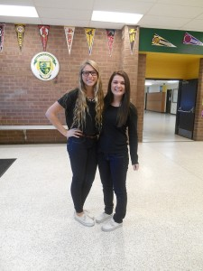 DELANEY SMITH AND Olivia Decapri participate in twin day during spirit week.