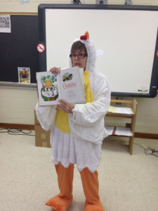 "ENGLISH 12 TEACHER Carol Paradiso dresses as ""Chanticleer"" while teaching the Canterbury Tales."