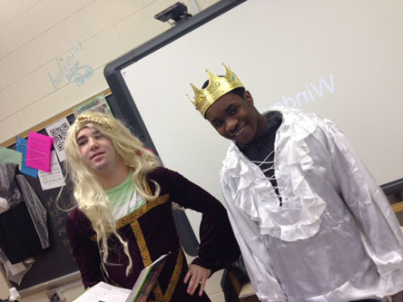 SENIORS DANNY ARBUCKLE and Erik Stephenson act out the play Macbeth in English class.