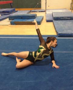 SENIOR GYMNAST CASEY Vest performs her floor routine.