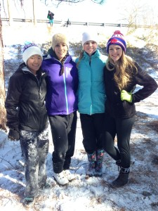 JUNIORS (L TO R) CAROLYN MOOREFIELD, Olivia Ward, Madison White, and Brooklyn Everman sled on a hill during our snow days.