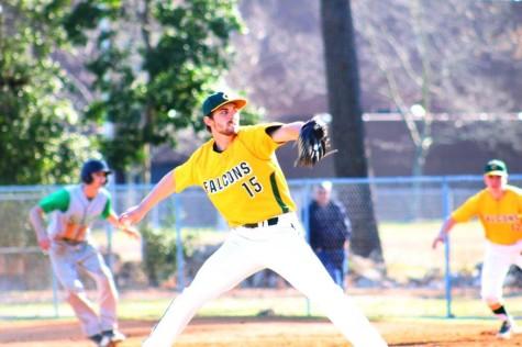 SENIOR NICK BAY throws a pitch against Green Run High School.