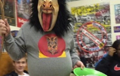 GERMAN TEACHER LARRY Becker shows students the true meaning of 'Krampus.'