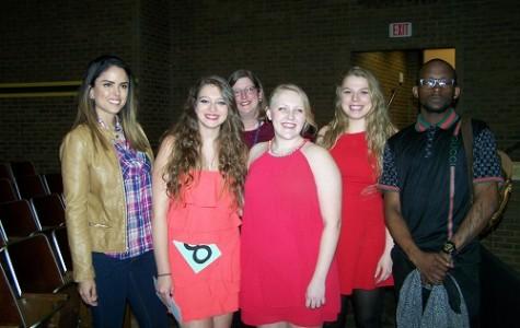 (L-R) JUDGE ANAKA CHESTNET, Maria Papkosta, Judge Holly Sunderland, Jessica Arsement, Jade Henrickson and Judge Sherrod Green pose after the Cox Idol competition.