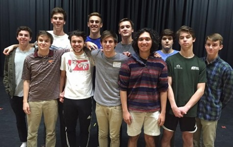 BROADWAY BOUND BOYS prepare to strut their stuff for the Mr. Cox pageant. From left to right: David Broome, Peter Sterling, Greg Hahn, Dominic Spagnolo, Brad Creamer, Jacob Dobrow, Cole Johnson, Nic Zarate, Riley Baker, Adam Hibben, and Axel Rasmussen.