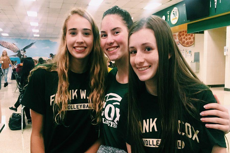 SOPHMORES GRACIE JOHNSON, Rachel Humphrey and Ashley Brunick wearing green to support color wars.