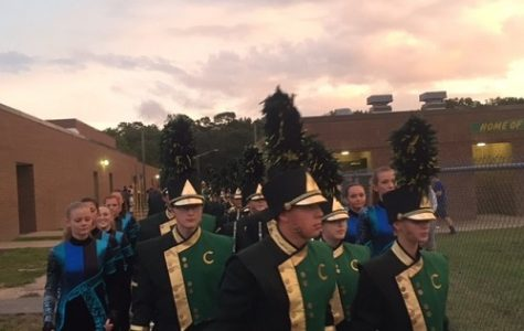 FLACON MARCHING BAND heads to the football field.