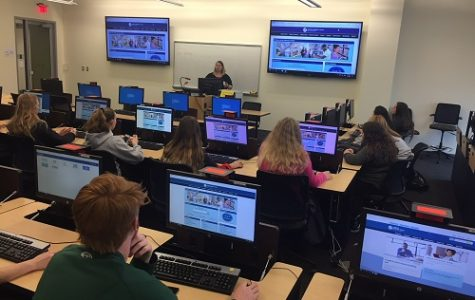 DUAL ENROLLMENT STUDENTS in Mrs. Devlin's classes visited Tidewater Community College today to put their skills to work, using college sources and databases to complete research.