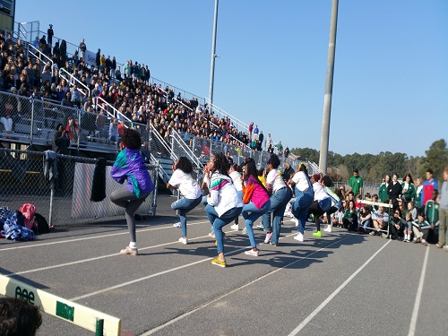 THE STEP TEAM performs at the 2018 spring pep rally.