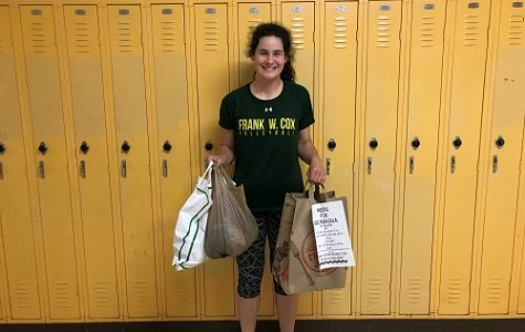 JUNIOR MADDIE BUTKOVICH collects goods for Nicaragua.