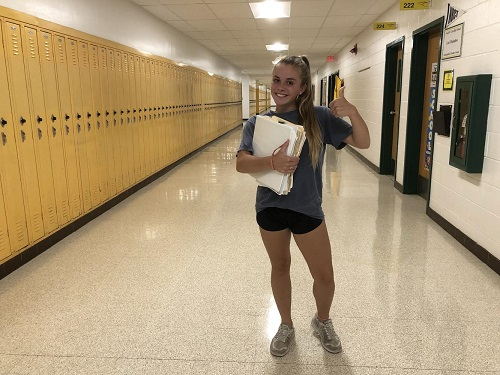 JUNIOR ZOE HINES prepares back to school as a  junior.  Hines seems excited for her new adventure.