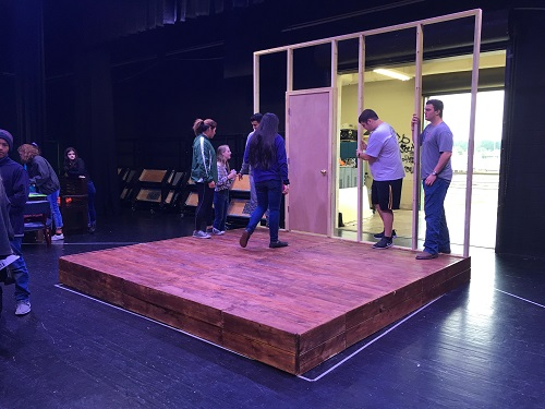FALCON STAGE COMPANY works on the sets for their upcoming show
