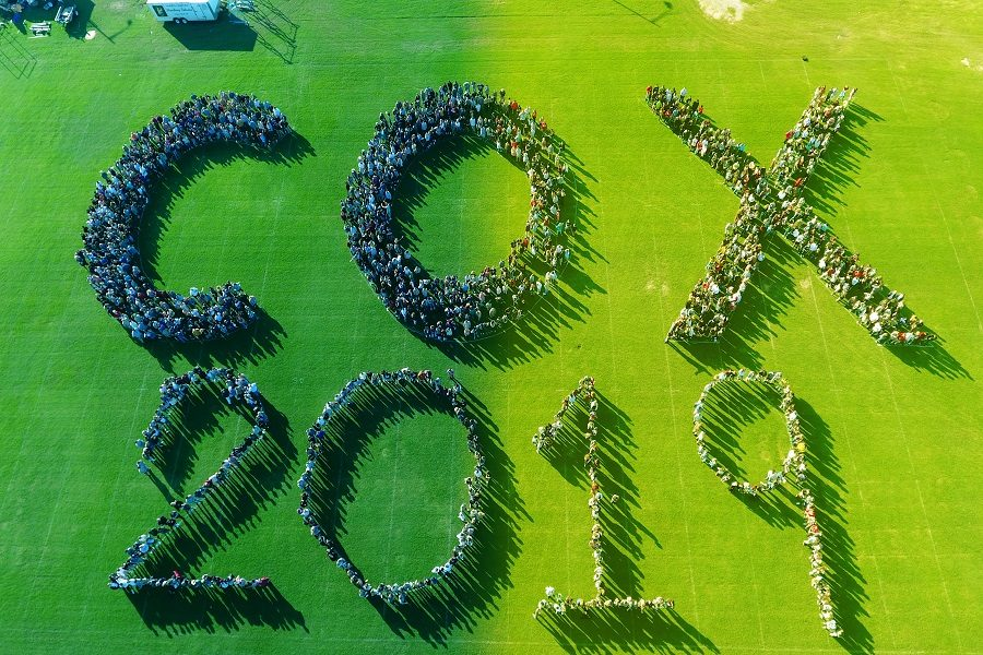 Student body gathers, drone captures group spirit photo