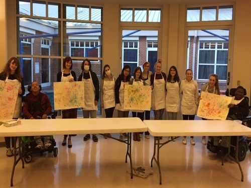 NATIONAL ART HONOR Society students collaborate with St. Mary's Home to create 'bubble art'.  The piece will be featured and auctioned off at a Gala in February to benefit St. Mary's.