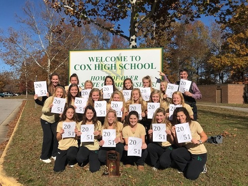 LADY FALCON FIELD hockey players hold signs up in front of the