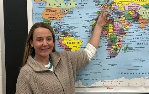 FRAU BERRON SHOWS students where the sister school is located. She's excited for this opportunity for students to experience a different cultural as a global learning initiative.