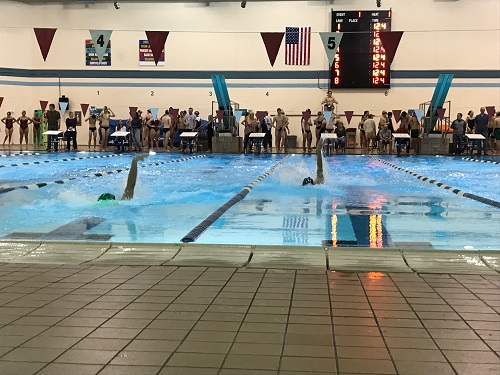 THE+FALCON+SWIM+team+members+compete+against+other+schools+in+the+backstroke+race.++The+other+high+schools+competed+in+the+nearby+lanes+bringing+competition.+