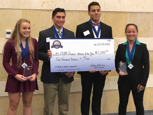 SENIOR CAYLA KATZ (far left), along with three other recipients, received $1,000 from the Virginia Beach Sports Hall of Fame as Student-Athletes of the Year.
