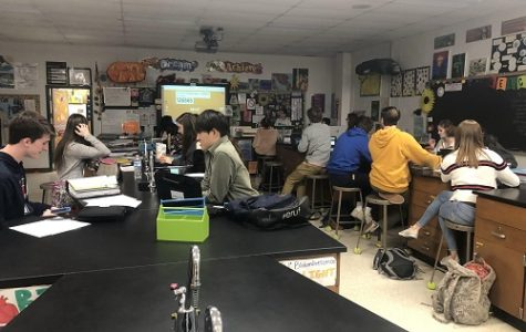 AP BIOLOGY STUDENTS review material in effort to ready themselves for this weekend's NMSI session. Their first NMSI session will be Saturday, Jan. 12, at Kempsville High School.