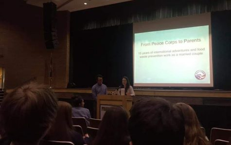 PEACE CORPS VOLUNTEERS Lenah and Jimmy Nguyen talk to students about the Peace Corps.  In the past, they have focused on their international and food waste prevention work.