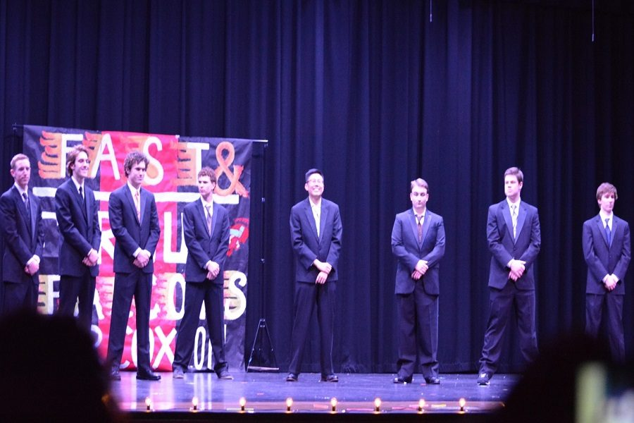 MR. COX CONTESTANTS line up after their performances. The boys gave it their all the entire night, and they ended the successful show with the formal wear section.