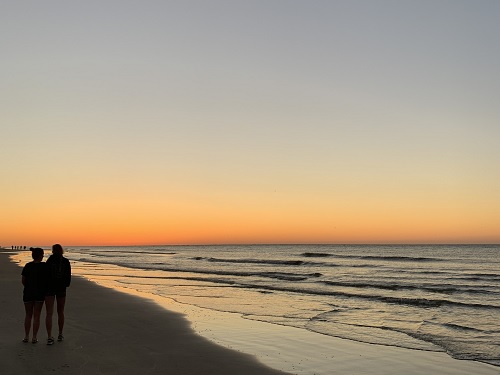 SENIORS+ANNA+MASON+and+Gianna+Cardone+stop+to+enjoy+the+sunset+in+Hilton+Head%2C+NC.+The+girls+spent+their+vacation+together+relaxing+by+the+beach+and+pool.