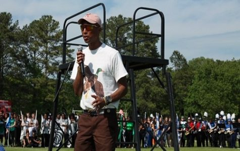 RECORDING ARTIST PHARELL Williams speaks to the crowd who gathered at Princess Anne High School for the Battle of the Bands competition. Williams returned to his alma mater to present the key to the City of Virginia Beach.