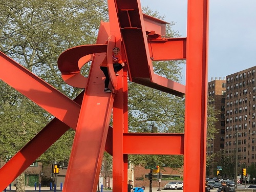 JUNIOR+EMMA+LANDIS+climbs+a+sculpture+in+Philadelphia%2C+PA.+She+stopped+for+a+picture+on+the+industrial+piece+of+art.+