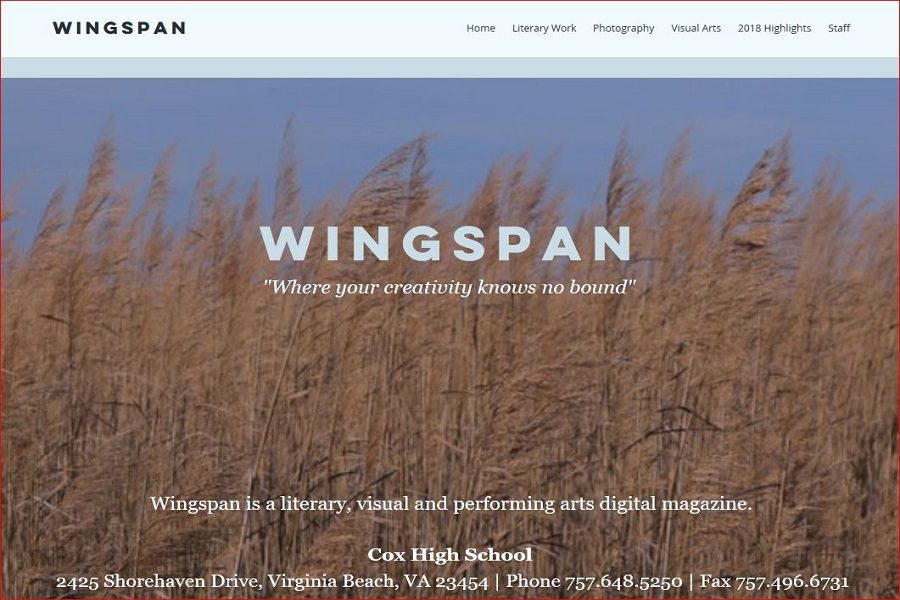 WINGSPAN SHOWCASES STUDENT creativity, ranging from literary work to photography to visual arts. Now in its second digital year, student work from throughout the school year is on display.