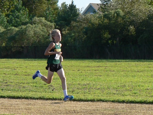 SOPHOMORE TYLER DALTON finishes his race.  He helped contribute to the team's success.