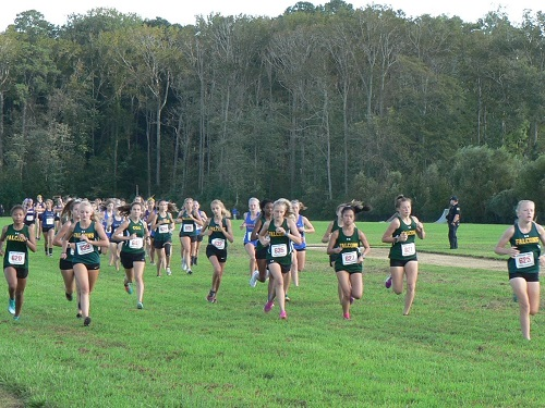 VARSITY GIRLS CROSS country team has an early lead on the field. The team had eight girls finish in the top ten.