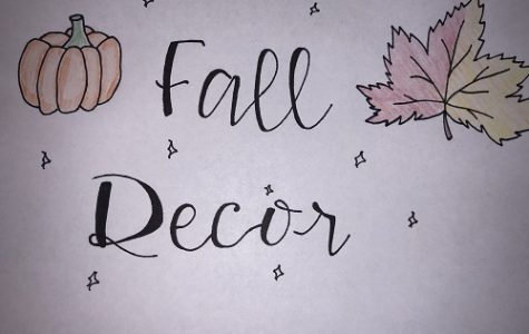FALL LEAVES AND pumpkins spice up this Fall decor poster which inspires students to decorate their rooms. Calligraphy was used to accentuate the purpose of the article.