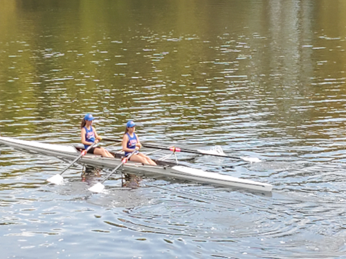 PAIR OF FALCON rowers practice on water. The team practices three days a week on the water.