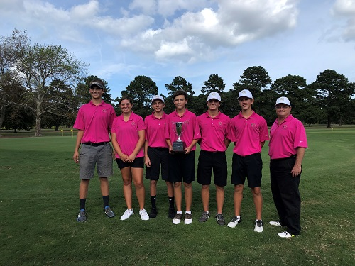 FALCON GOLFERS CELEBRATE their first place win in regional play last week.. The team had an overall score of 315 and are heading will head to the state championship this week.