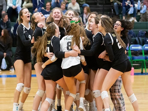 LADY FALCON VOLLEYBALL team crowds around Senior Emily Johnson as she scores the winning point off of an ace.  The girls then went on to defeat Mills Godwin High School in the State Quarter Finals.