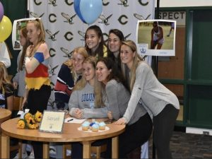 EARLY SIGNING DAY for senior field hockey players who recently committed to the college/university of their choice. Each girl will attend in the fall to play their [respective] sport.