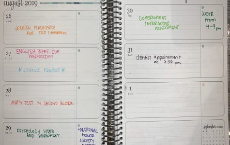 A COLOR CODED agenda displays the homework and events for the week. The agenda was used as a key to keep one student organized and more able to maintain necessary focus.