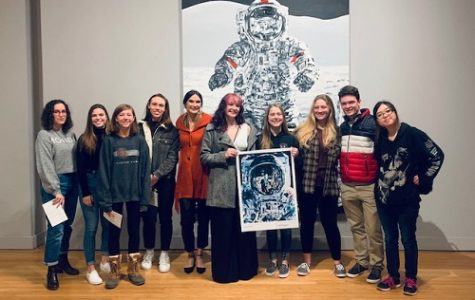 NAHS STUDENTS RECEIVE an autographed photo from the Michael Kagan: I Was There When it Happened exhibit at the Oceanfront's MOCA museum last week.  This particular photo is Kagan's rendition of NASA astronaut Leland Melvin.