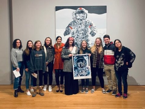 NAHS STUDENTS RECEIVE an autographed photo from the Michael Kagan: I Was There When it Happened exhibit at the Oceanfront