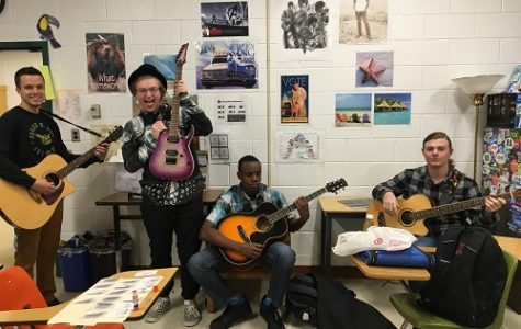STUDENTS ROCK OUT in Ms. Torrence's room. during a Friday Jams session. They look forward to participate in Friday Jams every week.