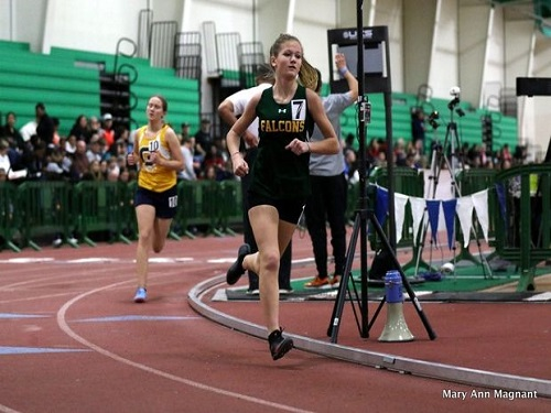 SOPHOMORE MORGAN COWEN runs bell lap. She ran sub-6 for her first mile of the season.