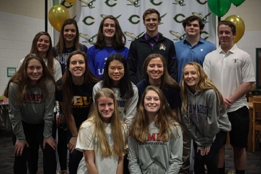THIRTEEN FALCON STUDENT-athletes sign their letters of intent to a variety of colleges and universities on February 5, otherwise known as National Signing Day. Each of these 'commits' have shown passion and dedication to their sport over the past four years, ultimately leading to this celebration.