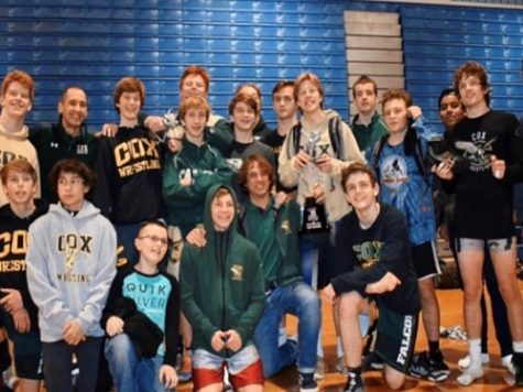 """THE FALCON WRESTLING team comes together to wrap up a successful season. The boys were all smiling after competing as a team."""